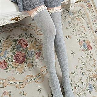 FUWUX Home Primavera y otoño Día Rayas Verticales Medias de Encaje de algodón Damas Calcetines hasta la Rodilla Calcetines Altos (Color : Light Grey)