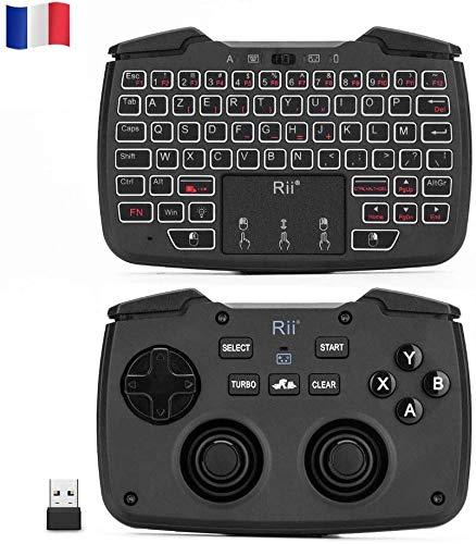 Rii Rk707: Controlador, mando de juegos, 2,4 GHz inalámbrico, lateral teclado y ratón (Azerty) con Touchpad, función de vibración, turbo retroiluminación, para Ps3, Windows, Android, Linux, SmartTV