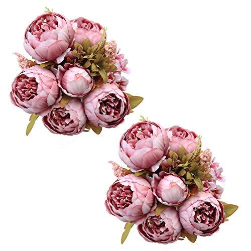 Tifuly 2 Piezas de Ramos de peonía Artificial, Ramo de Flores de imitación de peonías de Seda realistas para la decoración del Banquete de Boda en el hogar, arreglos Florales(Cameo Brown)
