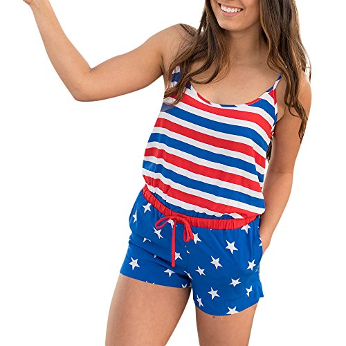 KYLEON Women's Jumpsuits Rompers Sleeveless American Flag Striped 4th of July Girls Summer Casual Short Playsuits Outfit Blue