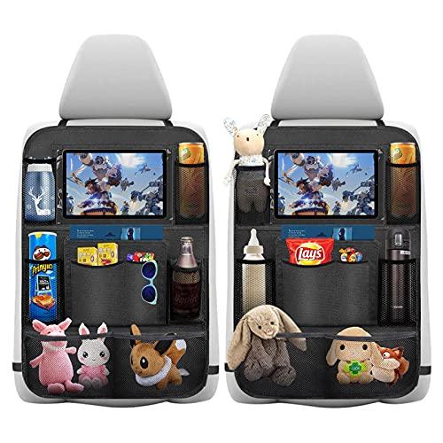 Auto Rückenlehnenschutz, laxikoo 2 Stück Wasserdicht Auto Rücksitz Organizer für Kinder, Rücksitzschoner, Kick Matten Schutz für Autositz mit Durchsichtigem Große Taschen und iPad-Tablet-Halter