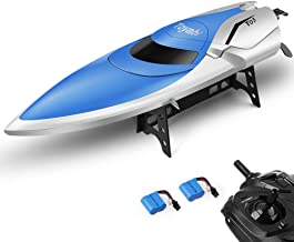 RC Boat Pool Toys High Speed (20MPH+) Remote Control Boat for Pools and Lakes 2.4GHz RC Racing Boats for Adults & Kids + Bonus Battery (Blue and White 1)