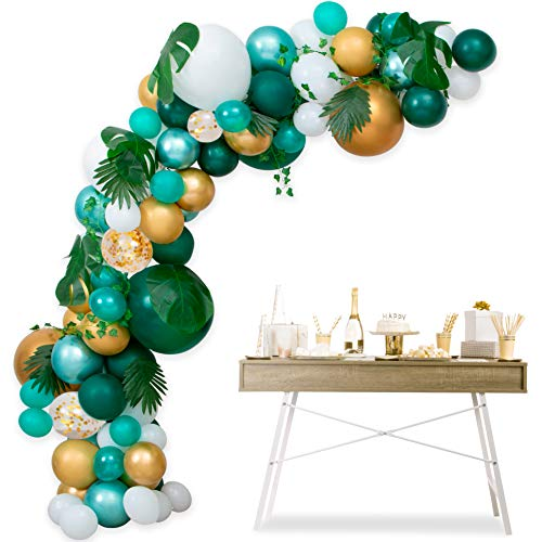 Safari Jungle Theme Party Supplies - Balloon Arch Kit Garland Decorations - 117 pcs Green Gold Metallic White Balloons with Palm Leaves 16ft, Baby Shower, Birthday Boy & Girl Party Backdrop DIY Décor