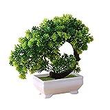 Bonsai artificial,Bonsai de plantas artificiales, forma de media luna Simulación de flores Bonsai de plantas artificiales ted, decoración de alféizar de ventana de escritorio de oficina en casa, aña