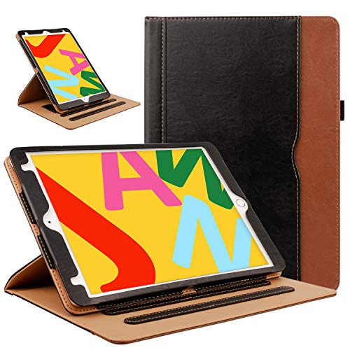 ZoneFoker Leather Case for New iPad 8th / 7th Generation Case, iPad 10.2 Case, 360 Protection Multi-Angle Viewing Stand Cover with Pencil Holder for iPad 10.2 inch 2020/2019 8th/7th Gen - Black/Brown