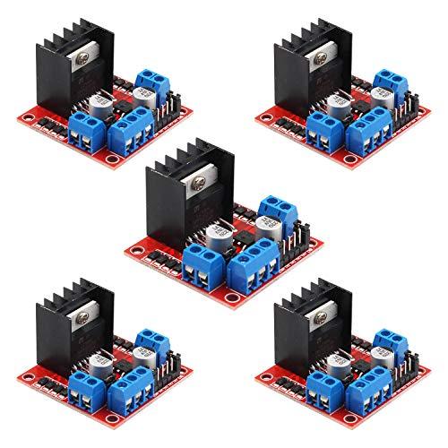 Sookg 5 Stück L298N Motorantrieb Board,2-Wege-H-Bridge-Fahrer,Antrieb 1 Schrittmotor oder 2 DC Motoren,Für Roboter, Smart Cars, Arduino