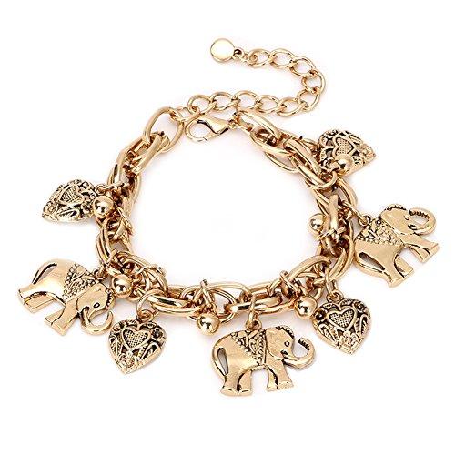aiuin 1x Strand Stil Armband Knöchel-Silber Anhänger in Form von Elefanten Armbändern Knöchel für Frauen Zubehör Schmuck (mit einer Handtasche Schmuck), gold