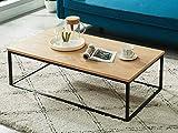 HOMIFAB Table Basse Industrielle 110x60x34 cm Noir et Effet chêne - Collection Brixton.