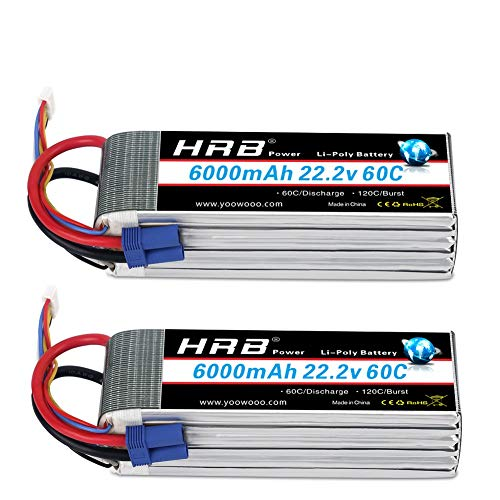 HRB 2PCS 6S 22.2V 6000mAh 60C Lipo Battery with EC5 Plug for RC Helicopter Airplane Car Boat Truck