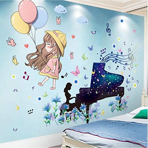 Wandtattoo Budds Klavier Mädchen Wandsticker DIY Ballons Comic Wandsticker für Kinder Schlafzimmer Baby Schlafzimmer Kinderzimmer Kinderzimmer Dekoration 45 x 60 cm
