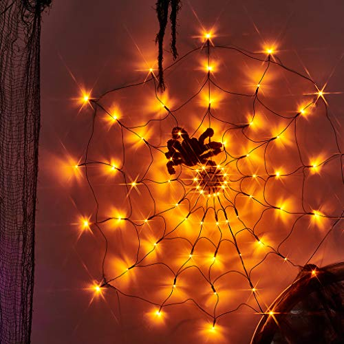 EAMBRITE Halloween Spider Web Lights with Plush Spider Decorations Fake Spiderweb Decor Prop for Kids Party Haunted House (3FT/100CM)