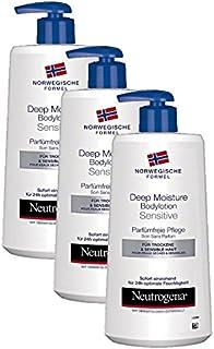 Neutrogena 露得清 挪威配方系列 深层滋润乳液, 适合干性和敏感性肤质, 不含香料, 3瓶装 (3 x 400 ml)