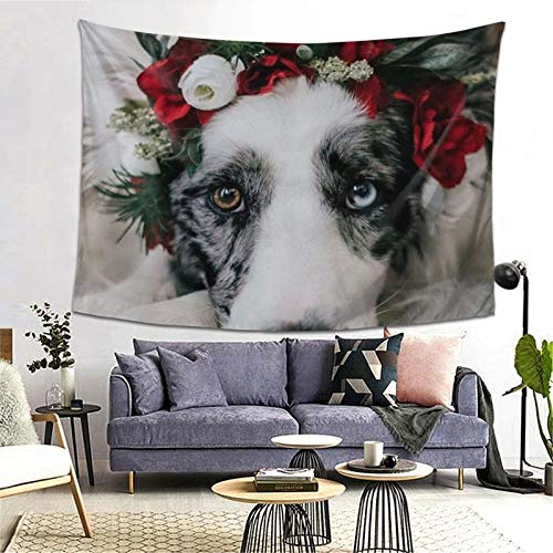 Tapestry Wall Hanging Dog With Garland Fashion Mural Tapestries For Bedroom Room Dorm Wall Decor 80x60 In