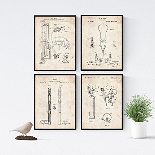 Nacnic Vintage - Pack de 4 Láminas con Patentes de Equipamiento Medico. Set de Posters con inventos y Patentes Antiguas. Elije el Color Que Más te guste. Impreso en Papel de 250 Gramos de Alta Calidad