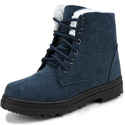 Winter Snow Boots for Women Comfortable Outdoor Anti-Slip Ankle Boots Suede Cotton Warm Fur Lined Booties Lace Up Flat Platform Shoes Blue