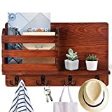 E-Senior Key Holder for Wall, Wooden Wall Mounted Coat Rack Mail Sorter Shelf Mail Organizer with 4 Double Key Hooks, Rustic Hanging Decorative for Entryway Mudroom Hallway Kitchen Office