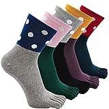 Calcetines para mujer con cinco dedos de algodón, calcetines tobilleros con dedos de los pies, calcetines deportivos de 4 a 5 pares Puntos 36/40 EU