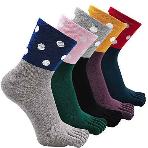 ZFSOCK Zehensocken Damen Baumwolle mit Lustig Tiere Muster, Bunt Five Finger Socken, Laufen Socken mit Zehen Einzeln, Atmungsfähig Zehensocken Arbeit Sports, EU 36-41, 5 Paare