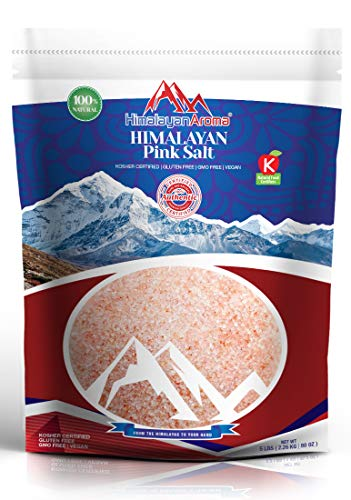 Gourmet Himalayan Salt, 5 lbs, Fine Grain, Himalayan Sea Salt, Pink Himalayan Salt, Hymalain Pink Salt, Essential Minerals & Nutrients Dense, Kosher Certified, Resealable Bag, Packaged in USA