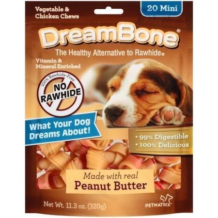 Dreambone Real Peanut Butter Flavored Vegetable & Chicken Dog Chew Treats (Rawhide Free) 11oz-12oz Bag (Bags) Select Treat Size Below by DreamBone