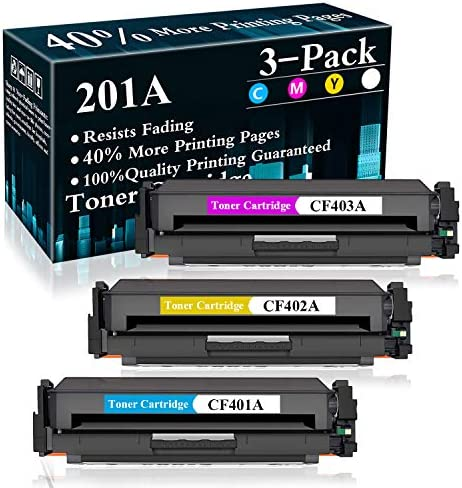 3 Pack C M Y 201A CF401A CF402A CF403A Toner Cartridge Replacement for HP Color Laserjet Pro product image