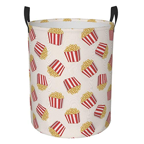 Foldable Laundry Hamper Delicious Popcorn Dirty Clothes Round Laundry Basket Waterproof Toys Clothes Storage Organizer Washing Bin Durable Handbag For Bathroom Bedroom