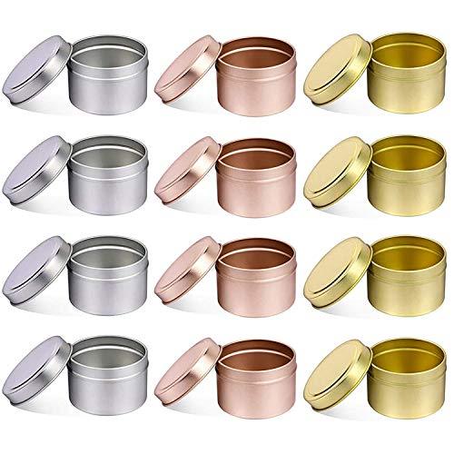 Recipientes para velas con tapas, 12 unidades de latas redondas decorativas de Metal de 8 onzas a granel, tarros reutilizables para velas para hacer velas DIY (5OZ,4PCS Silver+4PCS Gold+4PCS RoseGold)