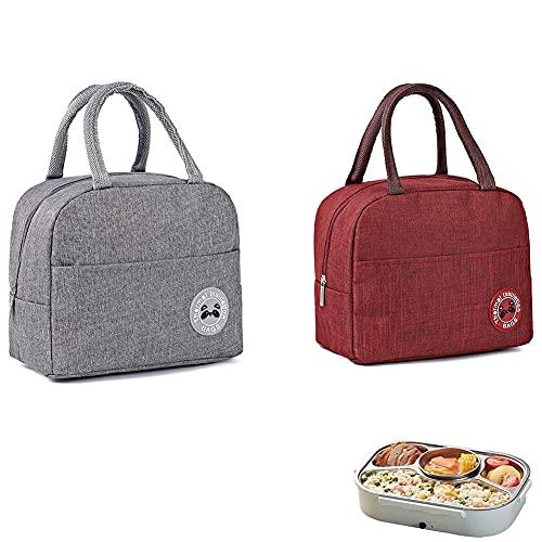 Lunch Tasche, 2 Stück Picknick Tasche, Lebensmittel Lunch Tasche, Kühltasche, Picknicktasche, Kleine Faltbare Kühltasche, Kann für Picknickausflüge für Männer und Frauen Verwendet Werden