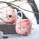 ONGGONGCHE Paar Katze Klaue Tasse Marmor Keramik Tasse Kaffeetasse Geschenk Flamingo Single Cup Mug Two Pack U0221 Pulver 350ml