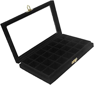 Prettyia Jewerly Box Organizer Case Jewelry Display Tray Watch Storage Case for Women with Clear Lid - 5 Color Velvet