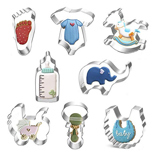 Iwinna Baby Shower Cookie Cutter Set of 8 Stainless Steel Cookie Biscuit Cutters Shapes - Onesies,Bib,Elephant,Rattle,Feeding Bottle,Baby Carriage,Rocking Horse and Footprint