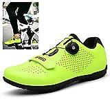 Zapatillas De Ciclismo MTB con Suela de Carbono de y Cierre Rotativo de Alta Precisión para Una Sujeción para Ciclismo Carrera Escalada Zapatos Al Aire Libre Transpirable,Verde,40