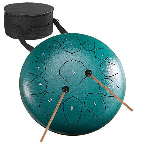 Tambores para Lengua de Acero,DYBITTS Tamborde Lengüetas 12 Pulgadas 13 Notas Percusión Instrumento Tankdrum para Educación Musical Concierto Curación (verde)