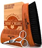 Beard Brush 100% Pure Firm Boar Bristles | Christmas Giveaway Dual Action Comb & Mustache Trimming...