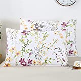 YOU SA Farmhouse Floral Design Pillow Covers Colorful Shabby Flowers Print Pillowcases, Satin Cotton Fabric, Set of 2 (Standard,Color-15)