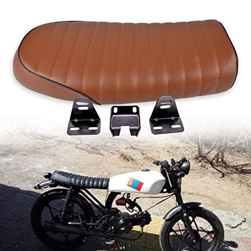 Almencla 63 Centimetri Lungo Moto Cafe Racer Retro Vintage Flat Seat Brat Saddle Cushion Brown Nero
