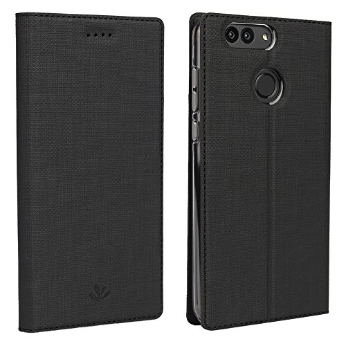 Huawei Nova 2 Plus Hülle,Eactcoo Dünn Premium PU Leder klappbares Folio Flip Case Book TPU Cover Bumper Tasche Mit Standfunktion Magnetverschluss Kartenfach Wallet Handyhülle (Nova 2 Plus, Black) - 2