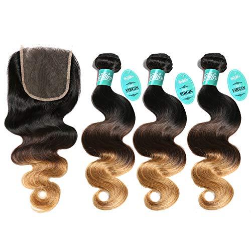 HmtAfro Cheveux brésiliens dégradés de grade 9A (#1b-#4-#27) (50,8 cm, 55,9 cm, 61 cm + 45,7 cm).