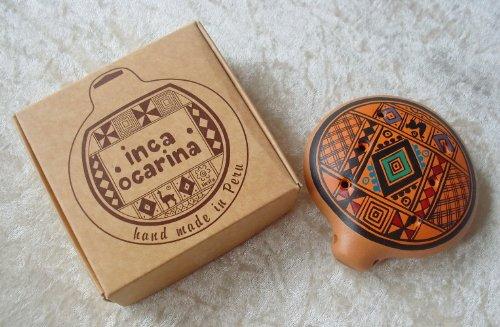 Ocarina Inca, flauto tradizionale peruviano, commercio equo e solidale, Colore: arancione.