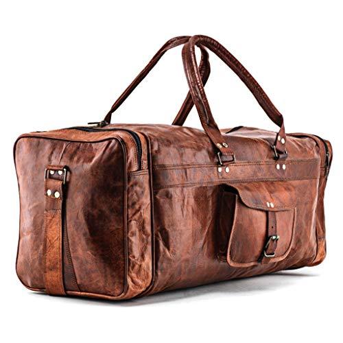 A.P. Donovan - Herren-Reisetasche braun | Duffle-Bag aus Leder mit viel Platz (Kurzurlaub)...