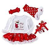 TMOYJPX Navidad Disfraz Niña Vestido Niño 0-24 Meses Princesa Invierno, 'My 1st Christmas' Conjunto Ropa Bebe Niña, Mono de Falda + Banda + Calcetines (B, 0-3 meses)