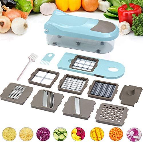 Yoyika Mandolina de Cocina Cortador de Verduras Multifuncional, 8 Piezas Intercambiable Cortadora de Verduras y Frutas, Rebanador Rallador Multiusos Utensilios de Cocina Profesional para Vegetales