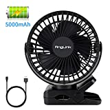 Anglink Clip on Fan for Stroller, Rechargeable Battery Mini...