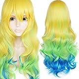 ANOGOL Long Wavy Yellow Green Blue Gradient Cosplay Wig