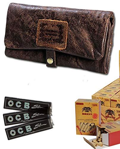 All Inclusive Geschenk Set für Raucher Stopfer Dreher Kavatza Drehtasche Tabaktasche Pouch Set OCB Papers und Breit Filter