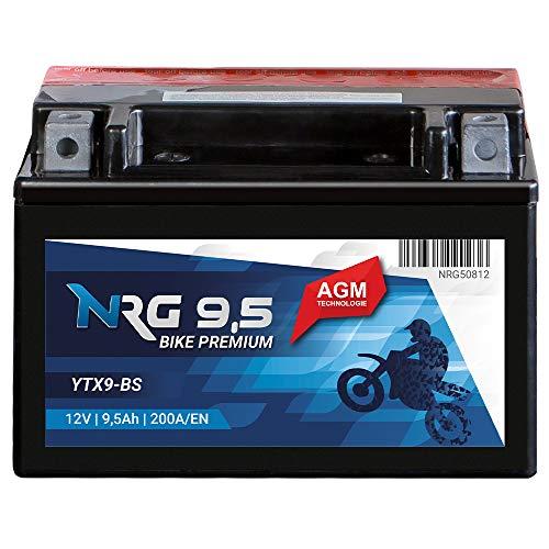 NRG AGM Roller Batterie 9.5AH 200A/EN 12V YTX9-BS Motorradbatterie Quad Motorrad