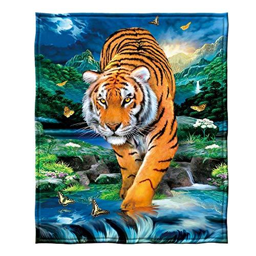 YISUMEI Decke 125x150 cm Kuscheldecken Sanft Flanell Weich Fleecedecke Bettüberwurf Mondschein Tiger