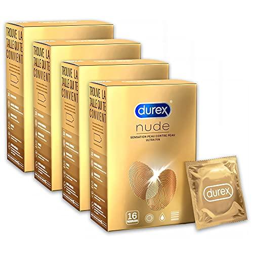 Durex - Preservativos Nude Sensation piel contra la piel, 16 preservativos extra finos, lote de 4