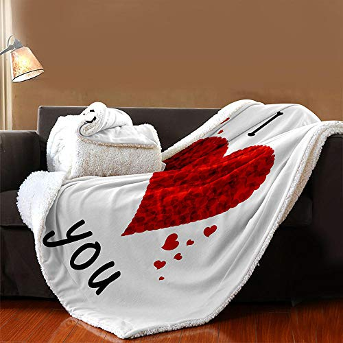 INFANDW Printed Fleece Throw Blanket for Adult Children Bed Blanket, White, Red, Love Pattern Soft Blanket Wool Microfibre Blanket Velvet Board Warm Office Nap, Microfibre 53 inch x 59 inch