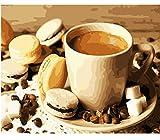 WFYY Arte de la Pared Pinturas al leo sobre Lienzo Regalos Galletas y caf Comida para nios Adultos Pintura por nmero DIY Juguete-Marco Incluido 16X20 Inch